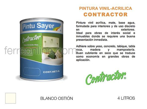 PINTURA VIN BCO OSTION 4LT SAYER CONTRACTOR VC-0229.40