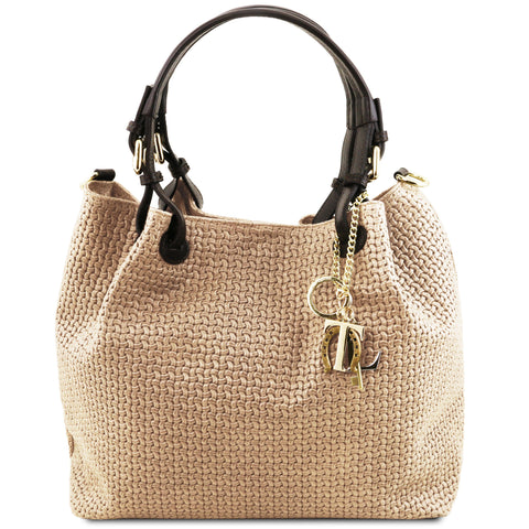TL KeyLuck - Woven printed leather shopping bag | TL141573 -  www.sanroccoitalia.it - Leather shoulder bags