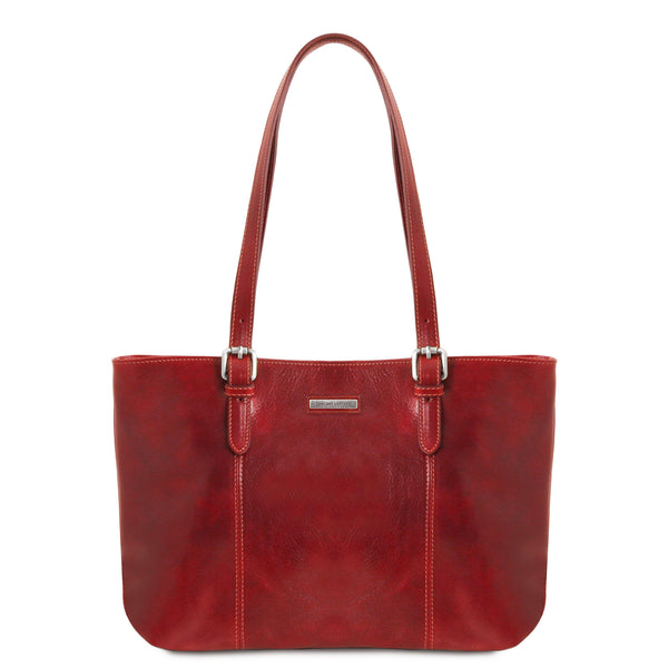 Annalisa - Leather shopping bag with two handles | TL141710 - Leather shoulder bags -  sanroccoitalia.it