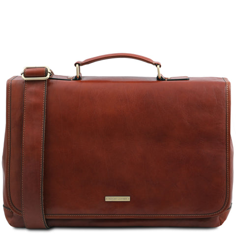 Mantova - Leather multi compartment TL SMART briefcase with flap | TL142068