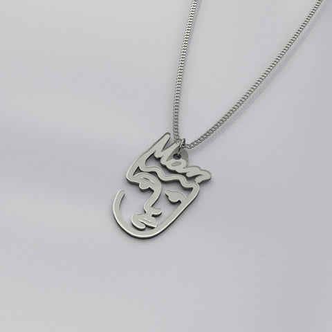 """Mom"" Abstract Face Necklace -  www.greatgifts.online - pendant"