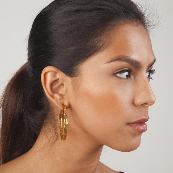 Large Brick Hoop Earrings