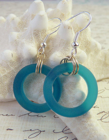 Aqua Blue Bottle Hoop  Beach Glass Earrings -  www.sanroccoitalia.it - Jewelry & Watches