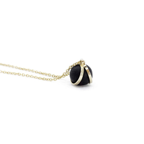 Gold Black Ball Charm Pendant Necklace -  www.greatgifts.online - Jewellery