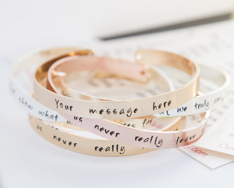 Personalised hand-stamped cuff bracelet -  www.sanroccoitalia.it - Jewelry & Watches