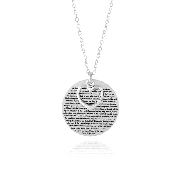 Words of Love Necklace - Engraved with the Song or Poem of Your Choice! -  www.sanroccoitalia.it - Jewelry & Accessories - Necklaces & Pendants