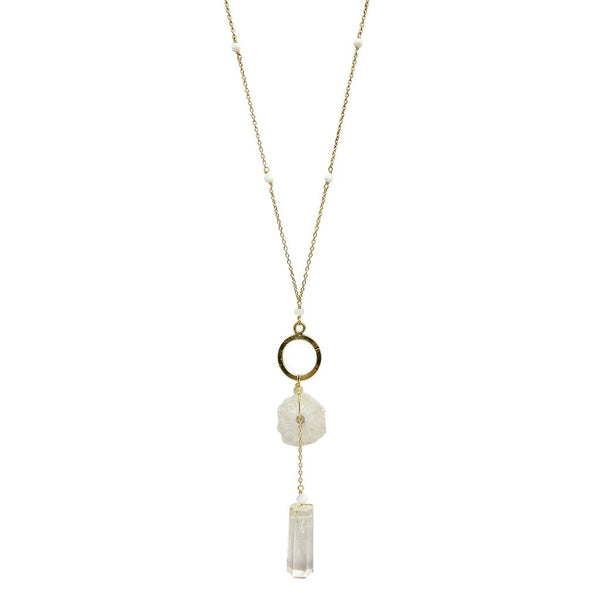 Solar Quartz + Crystal Y Necklace -  www.sanroccoitalia.it - Necklace