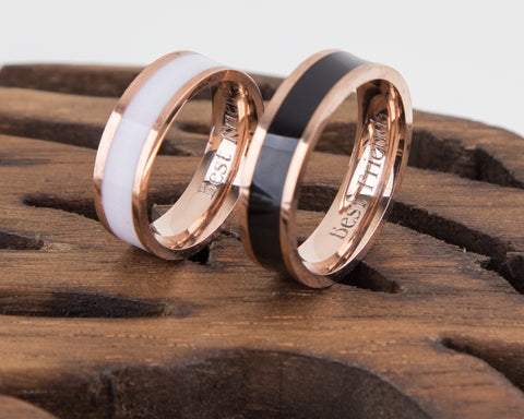 Rose Gold Black and White Personalised Couple Rings