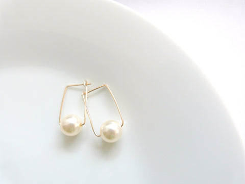 Pearl Square Hoop Earrings