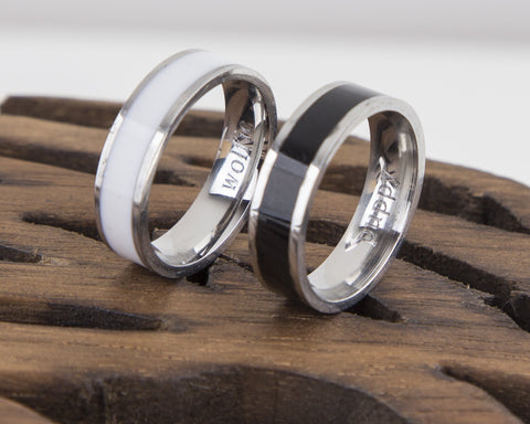Black and White Personalised Couple Rings -  www.greatgifts.online - Jewelry & Watches