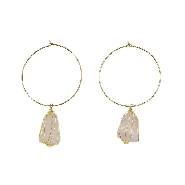 Rose Quartz Hoops -  www.sanroccoitalia.it - Jewelry