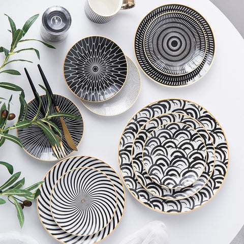 Nordic 6, 8 and 10-inch (15, 20 and 25 cm) geometric bone china porcelain plates