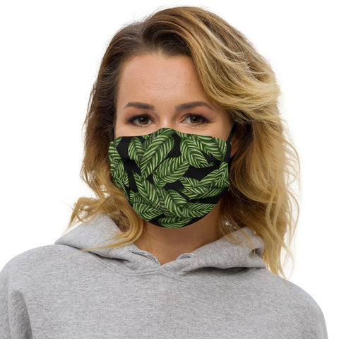 Black and green tropical leaves mask
