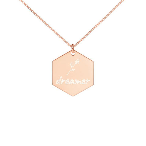 "Engraved ""dreamer"" Silver Hexagon Necklace -  www.greatgifts.online - Women - Jewelry - Necklaces"