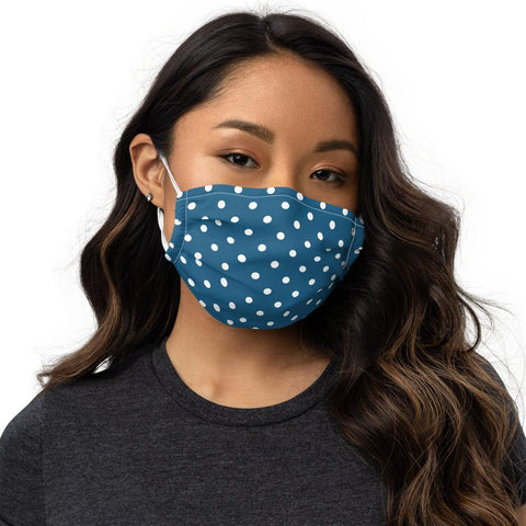 Blue and White Polka Dot Face Mask