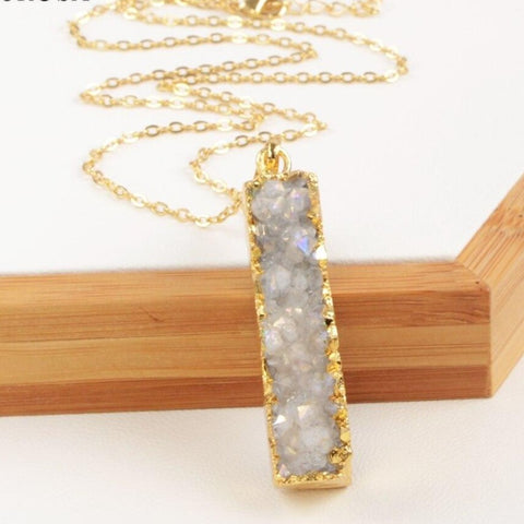 Natural Agate Vertical Bar Necklace