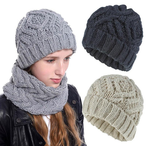 Chunky Knitted Hat and Matching Scarf
