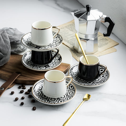Turkish Style Coffee Set including an Espresso Cup, a Saucer and a Spoon | 80ml -  www.sanroccoitalia.it - Cups