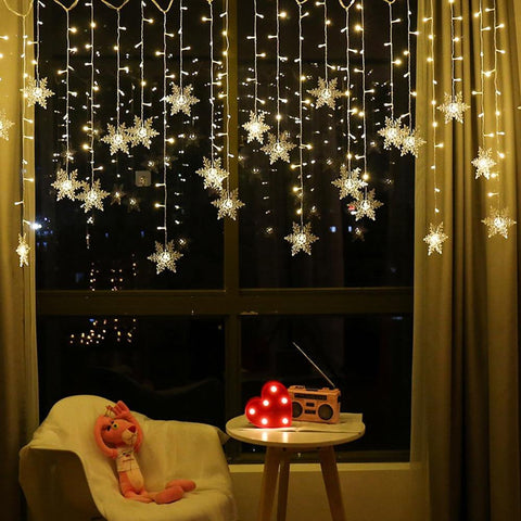 Flashing Indoor/Outdoor Snowflake LED Curtain Lights
