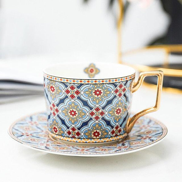 Gold Handled Cup and Saucer Set - Fine Bone China -  www.sanroccoitalia.it - Cups