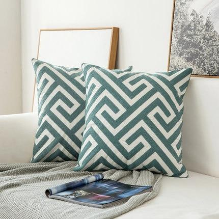 Embroidered Cushion Covers - Grey Blue/White 45x45cm -  www.sanroccoitalia.it - Decoration