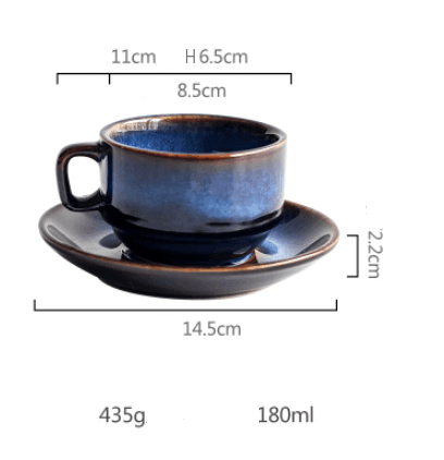 Deep Blue Ceramic Expresso/Coffee/Tea Cup and Saucer Set - 100 ml  or 180 ml -  www.sanroccoitalia.it - Cups