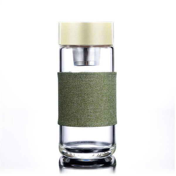 Glass Tumbler with Stainless Steel Tea Infuser - 400 ml -  www.sanroccoitalia.it - Kitchen