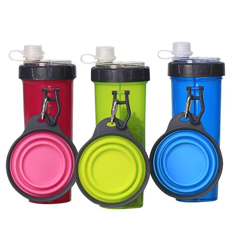 2-in-1 Portable Pet Water and Food Container with Folding Bowl