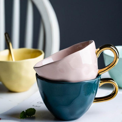 Nordic-style Gold Handled Mugs - 400 ml -  www.sanroccoitalia.it - Mugs