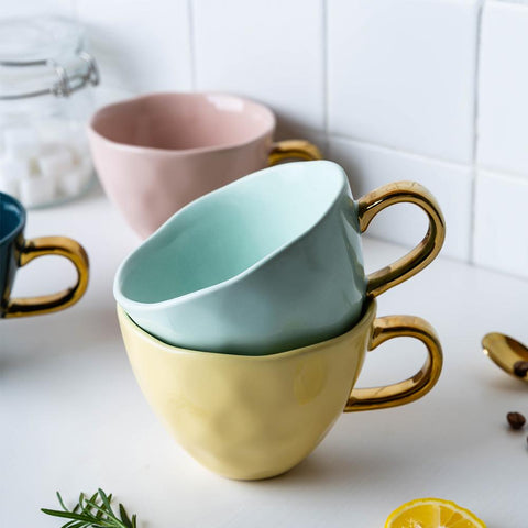 Nordic-style Gold Handled Mugs - 360 ml -  www.sanroccoitalia.it - Mugs