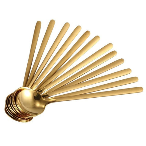 Round, Gold Stainless Steel Coffee Spoons - 12 piece set -  www.sanroccoitalia.it - Tableware