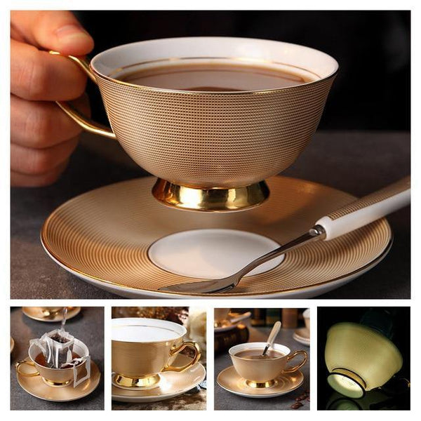 Luxury Cup, Saucer and Spoon Sets - Fine Bone China -  www.sanroccoitalia.it - Tableware