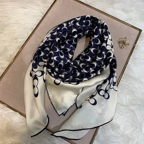 Square Silk Scarf - 100% Real Silk - Navy or Brown Design -  www.sanroccoitalia.it - Women - Accessories - Scarves