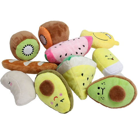 Plush Squeaky Chew Toys in Fun Shapes for Dogs