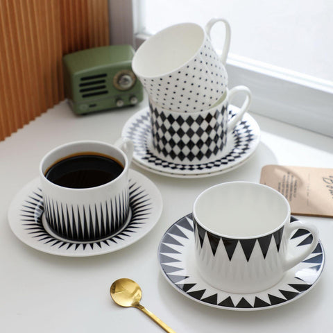 Black and White Porcelain Coffee / Tea Cup and Saucer | 225 ml