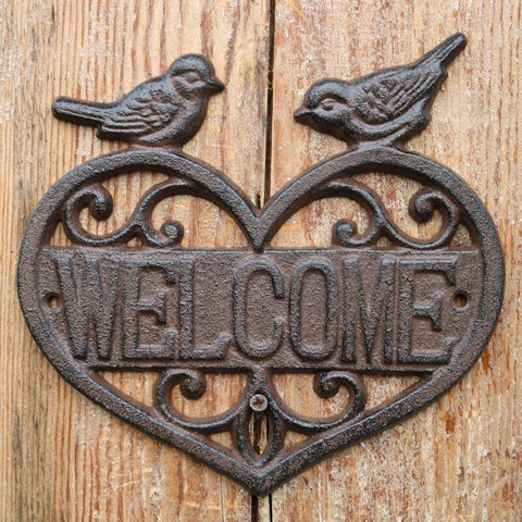 Rustic Heart Welcome Sign - Cast Iron 18x19 cm