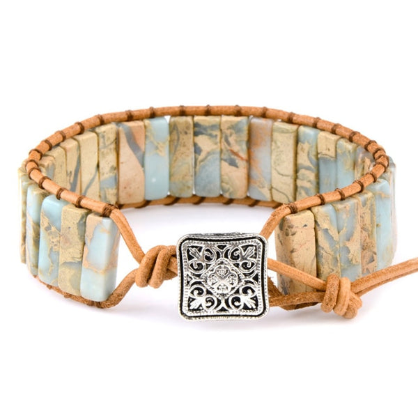 Natural Stone and Leather Tibetan Beaded Bracelet -  www.sanroccoitalia.it - Jewelry & Accessories - Bracelets