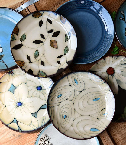"Hand-painted floral ceramic plates - 21.3 cm (approx. 8"") -  www.sanroccoitalia.it - Tableware"