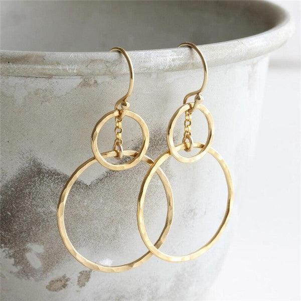 Handmade Hammered Double Circle Gold Earrings | 14K Gold Filled