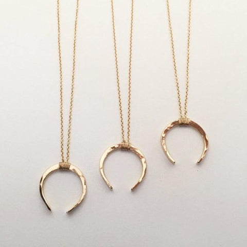 Handmade Hammered Moon Necklace | 14K Gold Filled/925 Silver Pendant