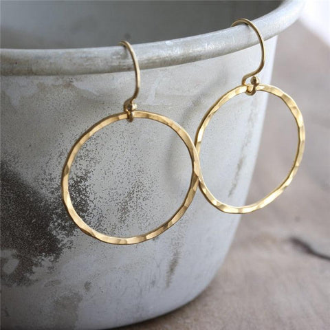 Handmade Hammered Gold Circle Earrings | 14K Gold Filled