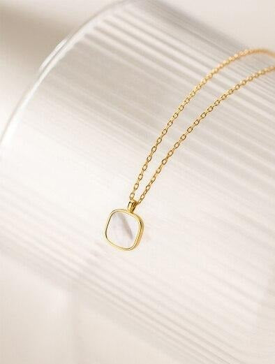 Square Shell Pendant Necklace -  www.sanroccoitalia.it - Jewelry & Accessories - Necklaces