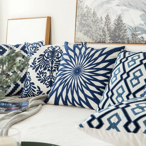 Embroidered Cushion Covers - Navy Blue/White 45x45cm -  www.sanroccoitalia.it - Decoration