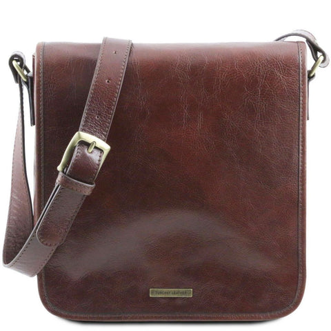 TL Messenger - One compartment leather shoulder bag | TL141260 -  www.sanroccoitalia.it - Leather bags for men