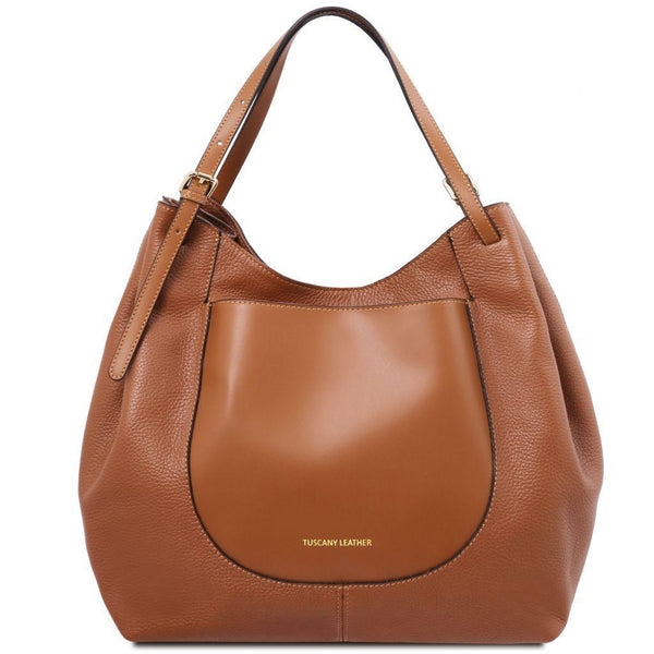 Cinzia - Soft leather shopping bag | TL141515 -  www.sanroccoitalia.it - Leather shoulder bags