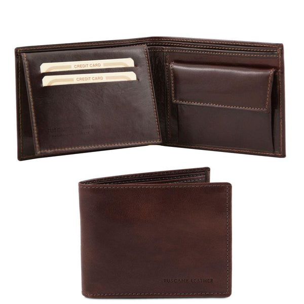 Exclusive leather 3 fold wallet for men with coin pocket | TL140763 -  www.sanroccoitalia.it - Leather wallets for men