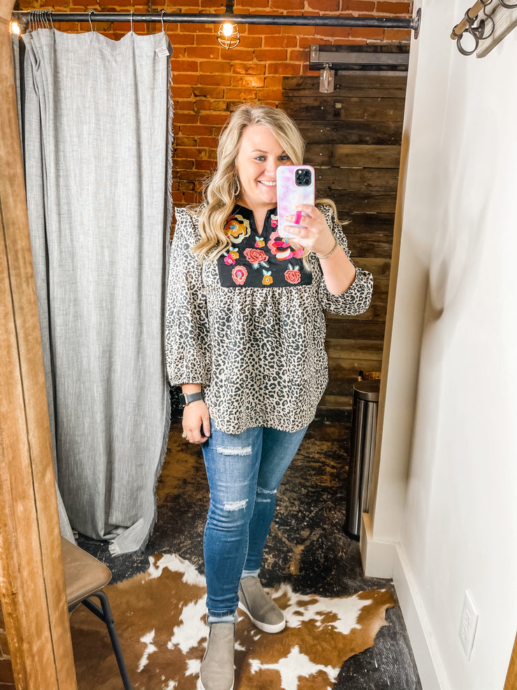 Brynn Embroidered Leopard Top