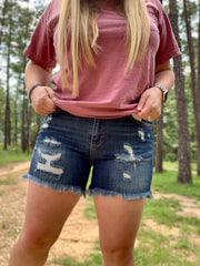 Distressed Dark Denim Shorts