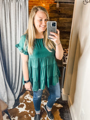 Hunter Green Boho Top