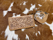 Patsy Tooled Leather Wallet/Crossbody/Wristlet
